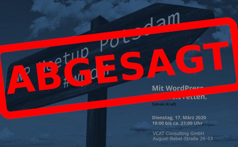 Absage des März-Meetups